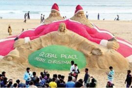 World's Tallest Sand Santa Claus Created By Sudarshan Pattnaik in India