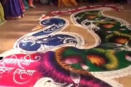 The Woman in the Video Draws a Freehand Rangoli | Incredible Art